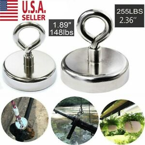 Fishing Magnet 255 Lb Super Strong Thick Neodymium Round Eyebolt Treasure Hunt