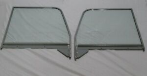 1947 1950 Chev Gmc Pickup Door Glasses Assembled Chrome Frames Left Right Cl