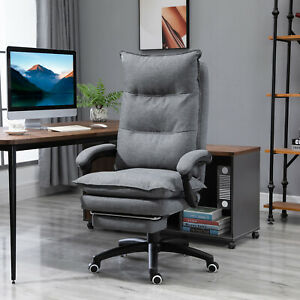 Office Chair Adjust Height Recliner With Retractable Footrest Wheel High Back