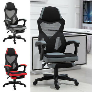 Office Chair Adjust Height Recliner With Retractable Footrest Wheel Mesh Back