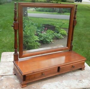 C 1940 Dresser Top Hard Maple Shaving Vanity Mirror
