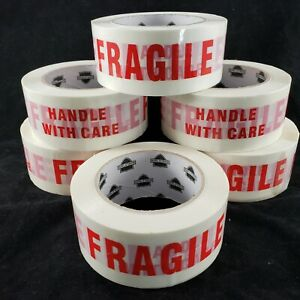 White Box Sealing Tape With Fragile Handle With Care 6 Rolls 2 X 131 Yd X 2 Mil