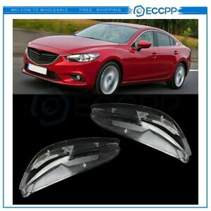 Headlight Lens Cover Polycarbonate Left Right For 2003 2008 Mazda 6 White