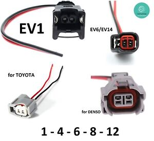 Fuel Injector Connectors With Pigtail Wiring Harness Ev1 Ev6 Ev14 Denso Toyota