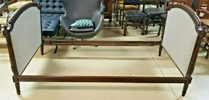 Antique French Day Bed Carved Walnut Frame 1800s Twin Size Mattress