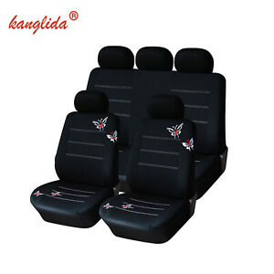 Butterfly Car Seat Covers Polyester Fabric Fashion Embroidery Full Set Universal