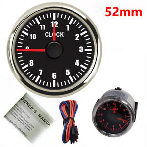 52mm 2 Clock Meter Gauge Car Boat Universal 12 hours Format With Red Backlight
