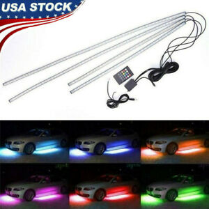4pc Led Rgb Under Car Tube Glow Underglow Underbody System Neon Strip Lights Kit