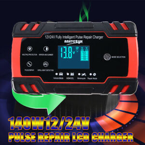 12v 24v 3 stage Auto Smart Intelligent Lcd Car Battery Charger Pulse Repair