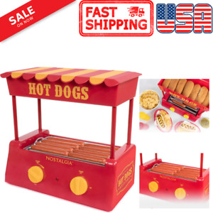 Nostalgia Hdr8ry Hot Dog Bun Warmer With Stainless Steel Rollers Adjustable Heat