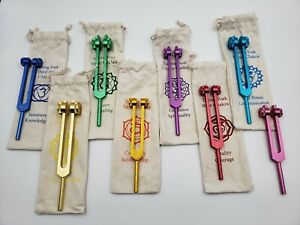 Chakra Color Set Of 8 Weighted Healing Tuning Fork Set W Individual Marked Bags