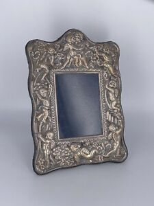 Antique Sterling Silver 925 Repouss Cherub Photo Photograph Picture Frame Ss