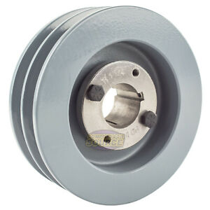 Cast Iron 5 5 2 Groove Dual Belt B Section 5l Pulley W 1 1 4 Sheave Bushing