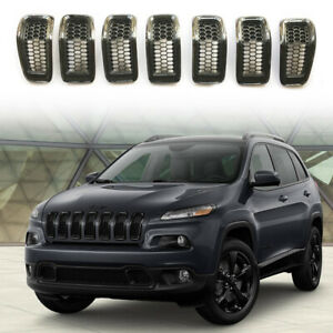 For Jeep Cherokee 2014 2018 Black Grill Inserts Front Grille Inserts Covers Rims