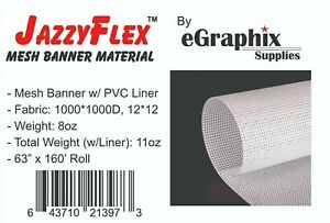 Mesh Banner Material W Liner 1000x1000 White 63 In X 160 Ft Roll