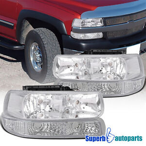 For 1999 2002 Silverado 1500 2000 2006 Tahoe Suburban Black Head Bumper Lights