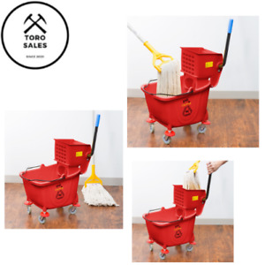 Mop Bucket And Side Press Wringer Combo 35qt Red Commercial Janitorial Cleaning