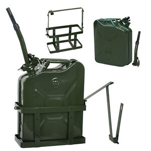 Jerry Can Fuel Nato Military Metal Steal Tank W Holder 5gallon 20l Gas Gasolin