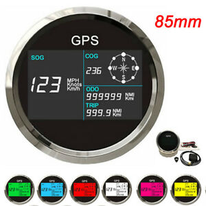 85mm Boat Car Gps Speedometer Digital Lcd Speed Gauge Odometer Course W Antenna