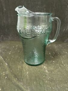 "Vintage Coca-cola 9"" Pebbled Green Glass Pitcher"