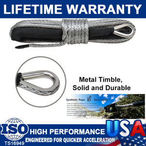 1 4 x 50 10000lb Synthetic Winch Rope Line Recovery Cable 4wd Atv Gray W sheath