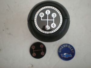 Vintage Chevrolet 3 Speed 4 Speed Black Leather Shift Knob