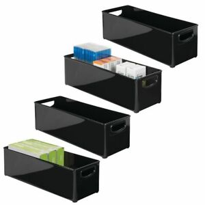 Mdesign Stackable Plastic Home Office Storage Bin With Handles 4 Pack Black