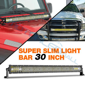30 inch Quad row Led Work Light Bar Combo Off Road Driving Lamp Truck Atv 6000k
