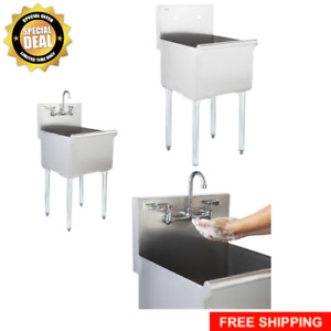 18 X 18 X 13 Stainless Steel Commercial Utility Sink Prep Hand Wash Mop Clean