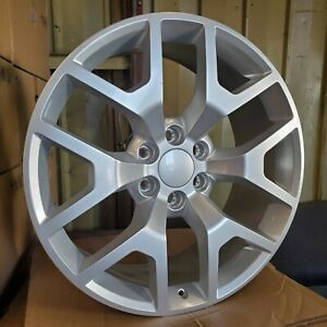 1 22 Full Silver Gmc Yukon Honeycomb Style Wheel 22x9 6x5 5 31mm Chevy Blem