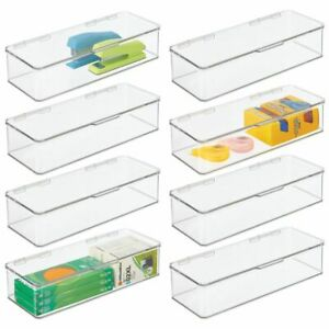 Mdesign Wide Plastic Desk Organizer Box For Home Office 3 High 8 Pack Clear