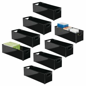 Mdesign Stackable Plastic Home Office Storage Bin With Handles 8 Pack Black