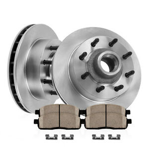 For Ford E350 E450 Econoline Super Duty Front Brake Disc Rotors And Ceramic Pads