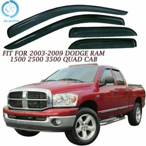 Vent Visor Window Deflector Guard For Dodge Ram 1500 2500 3500 Quad Cab 02 09