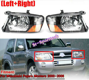 Left Right Pair Front Head Lamps Lights For 2000 2006 Mitsubishi Pajero Montero