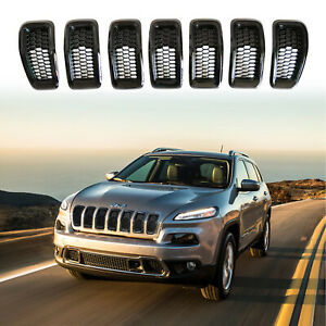 Black Grill Grille Inserts For Jeep Cherokee 2014 2018 Rims Cover Honeycomb Mesh