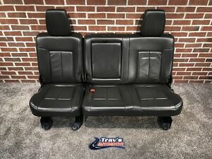 11 16 Ford F 250 F 350 Superduty 60 40 Rear Leather Bench Seat Black Lariat