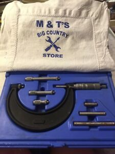 Central Tool Co 0 4 Range Style Micrometer Set In Case Usa