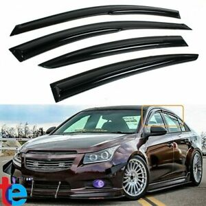 For 2009 2015 Chevy Cruze Dark Smoke 3d Wavy Window Visor Rain Guard Deflector