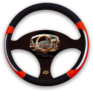 Red Black Silver Accent Car Steering Wheel Cover Pu Leather Size M 14 5 15 5