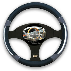 Gray Black Silver Accent Car Steering Wheel Cover Pu Leather Size M 14 5 15 5