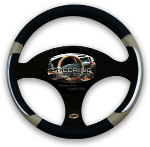 Beige Black Silver Accent Car Steering Wheel Cover Pu Leather Size M 14 5 15 5