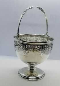 Sterling Silver Footed Swing Handle Sugar Bowl