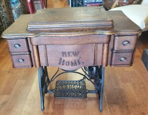 Antique Sewing Machine New Home Oak 4 Drawer W Extras Circa 1900 30 S We Ship