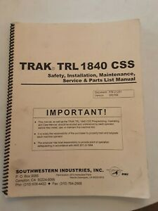 Southwestern Prototrak Trl1840css Safety Install Service And Parts List Manual