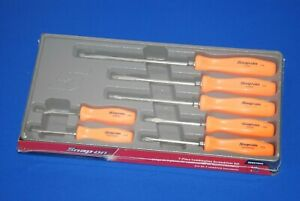 New Snap On Tools 7 Piece Combination Screwdriver Set Orange Sddx70ao