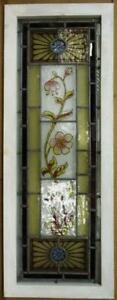 Victorian English Leaded Stained Glass Window Hand Painted Flowers 15 25 X 41