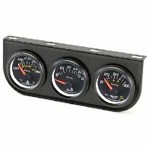 Equus 2 Inch Mechanical Triple Gauge Kit Black Faced Black Bezels Panel 6200
