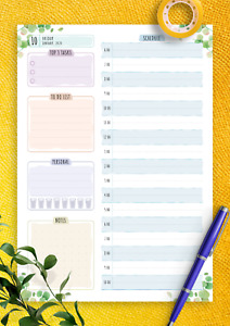 Dated Daily Planner Floral Style Customizable Printable Template Tasks To Do
