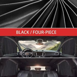 4pcs Car Black Uv Protector Front Rear Side Window Curtain Sunshade Windshield